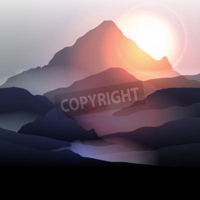 Fototapeta Pejzaż górski w Sunrise - ilustracji wektorowych