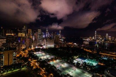 Fototapeta Pejzaż nocy Victoria Park Causeway Bay w Hongkongu