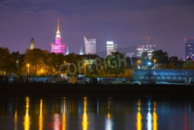 Fototapeta Pejzaż Warszawie w nocy