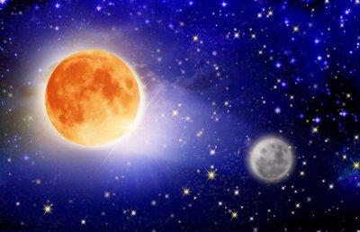 Fototapeta Pełnia księżyca na nocnym niebie.