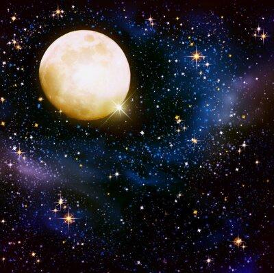 Fototapeta Pełnia księżyca na nocnym niebie i gwiazdach.
