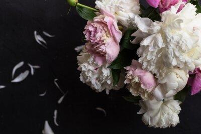 Fototapeta Peonies bouquet on black background