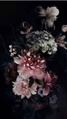 Fototapeta Peonies, hydrangea, lily, iris and tulips in bloom. Vintage bouquet of beautiful garden flowers on black. Floristic decoration. Floral background. Baroque style.
