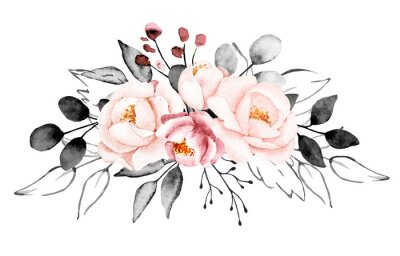 Fototapeta Peonies, watercolor pink and gray flowers. Floral summer vintage illustration isolated on white background. Hand drawing. Perfectly for wedding, birthday, party, other greetings design.