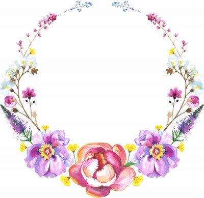 Peony kwiat naszyjnik w akwareli. Może być używany do: tło, plakat, drukuj, romantyczny zaproszenia, dekoracje, podobieństw lub wzoru.