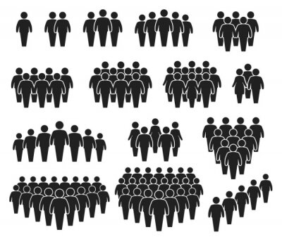 Fototapeta People crowd icons. Large group of people. Team of men or women. People gathering together, standing in queue. Person pictogram icon vector set. User group network, silhouettes for infographic