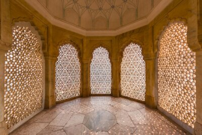 Fototapeta Perforated wall in the building of the palace in the Amber Fort at Jaipur, India.