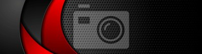 Fototapeta Perforowany transparent w czarne technologie z czerwonymi falami