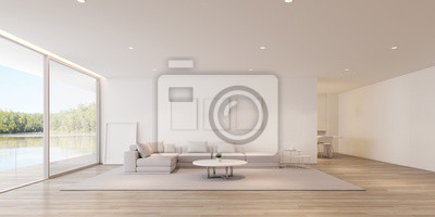 Fototapeta Perspective of modern luxury living room with sofa and white picture frame on lake view background,Idea of family vacation - warm timber interior design - 3D rendering.