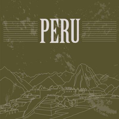 Fototapeta Peru punkty orientacyjne. Retro stylizowany wizerunek.