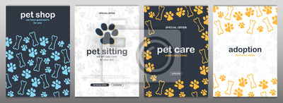 Fototapeta Pet shop, Care, Pet sitting. Adoption. Home animals. Banner with cat or dog paws. Hand draw doodle background.
