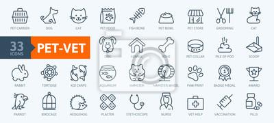 Fototapeta Pet, vet, pet shop, types of pets - minimal thin line web icon set. Outline icons collection. Simple vector illustration.
