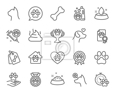 Fototapeta Pets line icons. Veterinary, dog care and cat food. Lovely animals, shampoo for pets and doghouse icons. Vaccine, pet care and dog paw. Winner cup, certificate and medal. Animal feces. Vector