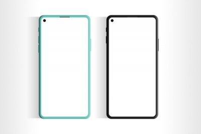 Fototapeta Phone mockup image. Phone with blank screen. Smartphone two colors mockup. Mobile screen mockup.