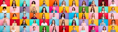 Fototapeta Photo collage of cheerful excited glad optimistic crowd of different human have toothy beaming smile wear casual clothes isolated over bright multicolored background