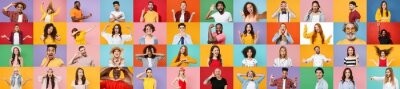 Fototapeta Photo set collage of faces of multiethnic diverse emotional people, men and women group different ages wearing casual clothes isolated on colorful background studio portraits. Human facial expressions