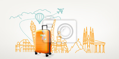 Fototapeta Photoreal suitcase with different travel destination elements. World travel vector concept