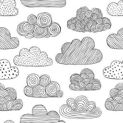 Fototapeta Pi? Kny czarno-bia? Y bezszwowy wzór dymku chmur. projektowanie kart okolicznościowych i zaproszeń na wesele, urodziny, dzień matki i inne sezonowe święta jesieniowe.