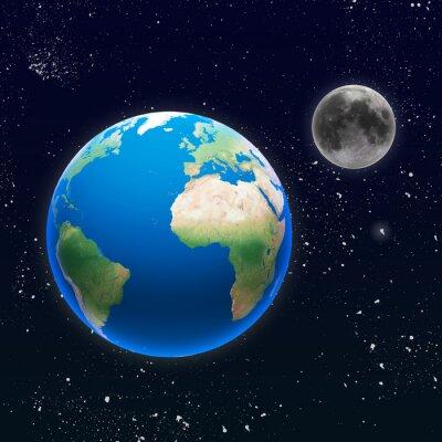 Fototapeta Pianeta terra con luna