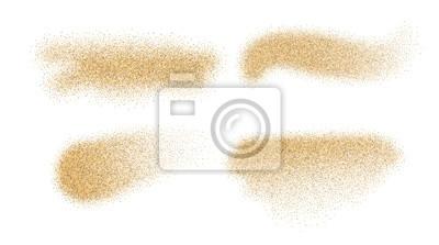Fototapeta Piasek elementy wektorowe. Plamy piasku samodzielnie na białym tle.