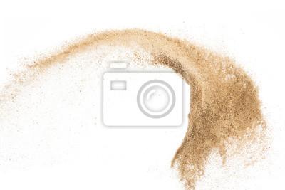 Fototapeta Piasek latający wybuch na białym tle, rzucanie zamrożenie zatrzymać projekt obiektu ruchu