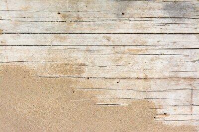 Fototapeta Piasek na oszalowanym drewnie. Lato tło z kopii przestrzeni. Widok z góry