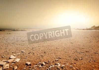 Fototapeta Piaszczysta pustynia w Egipcie na zachodzie słońca