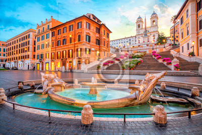 Fototapeta Piazza de Spagna in Rome, italy. Spanish steps in the morning. Rome architecture and landmark.