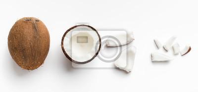 Fototapeta Pieces of coconut on white