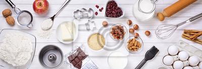 Fototapeta Pieczenie narzędzia i składniki do ciasta