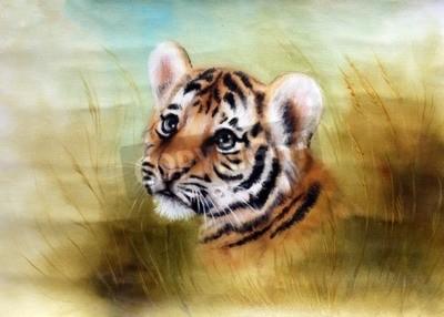 Fototapeta Piękna aerograf malowanie głowicy berbeć tygrysa patrząc z zielonej trawie okolicy