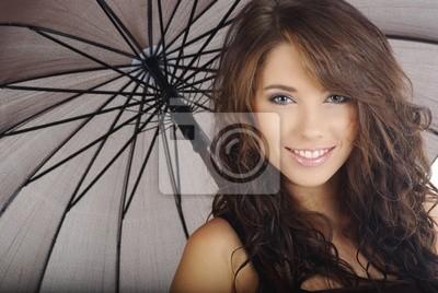 Fototapeta piękna dziewczyna z parasolem