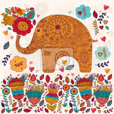 Fototapeta Piękna karta wektor z kwiatami i słoń