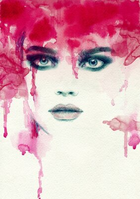 Fototapeta Piękna kobieta. Akwarele ilustracji