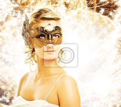 Fototapeta Piękna kobieta w karnawałowe maski ponad streszczenie tle