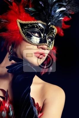 Fototapeta piękna kobieta z maską