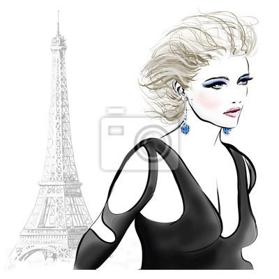 Fototapeta Piękna modelka w Paryżu