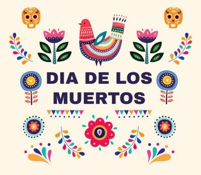 Piękna wektorowa ilustracja z projektem dla Dia De Los Muertos. Wektorowy szablon z tradycyjną Meksykańską symbol czaszką, meksykańscy ornamenty.