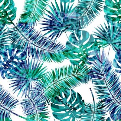 Fototapeta Piękne bez szwu wektora kwiatowy wzór tła letnich z tropikalnych liści palmowych i zwierząt prints.Perfect dla tapety, tła strony sieci web, tekstury powierzchni, włókienniczych.