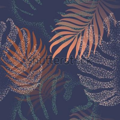 Fototapeta Piękne bezszwowe tropikalnej dżungli kwiatowy wzór tła z liści palmowych