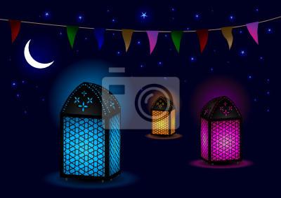 Fototapeta Piękne islamscy Lampy z Crescent i Gwiazd