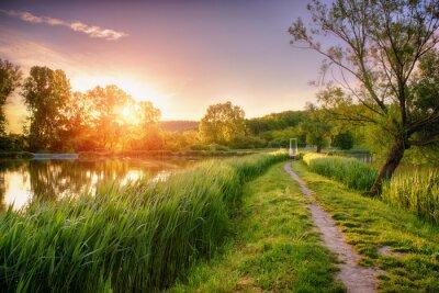 Fototapeta Piękne jezioro połowów w sunrise