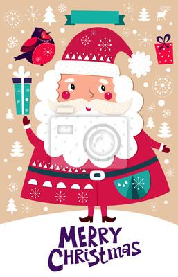 Piękne karty z pozdrowieniami z Santa Claus i pudełka.