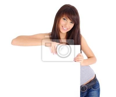 Fototapeta Piękne kobiety gospodarstwa puste Biała tablica