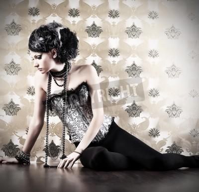 Fototapeta Piękne kobiety modne nad rocznika tle.