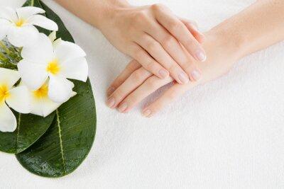 Fototapeta Piękne kobiety ręce są na ręcznik
