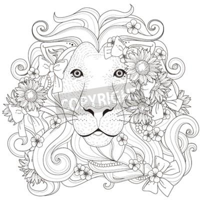 Fototapeta piękne kwiaty lew z strony do kolorowania w wykwintnym stylu