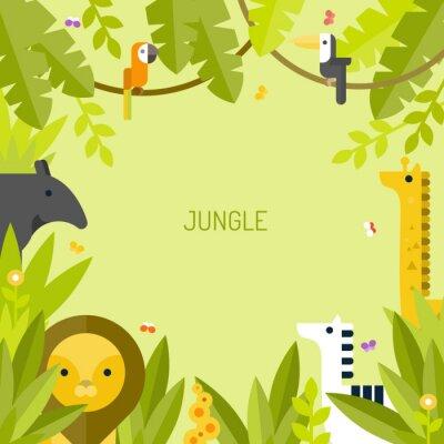 Fototapeta Piękne tropikalne tło. Dżungla. Wektor płaskie ilustracji.