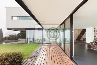 Fototapeta Piękne wnętrza nowoczesnej willi, widok z werandy