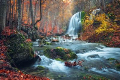 Fototapeta Piękne wodospad w lesie jesienią w krymskiej górach na zachodzie słońca. Srebrny Potok Wodospad w Wielki Kanion Krymu.